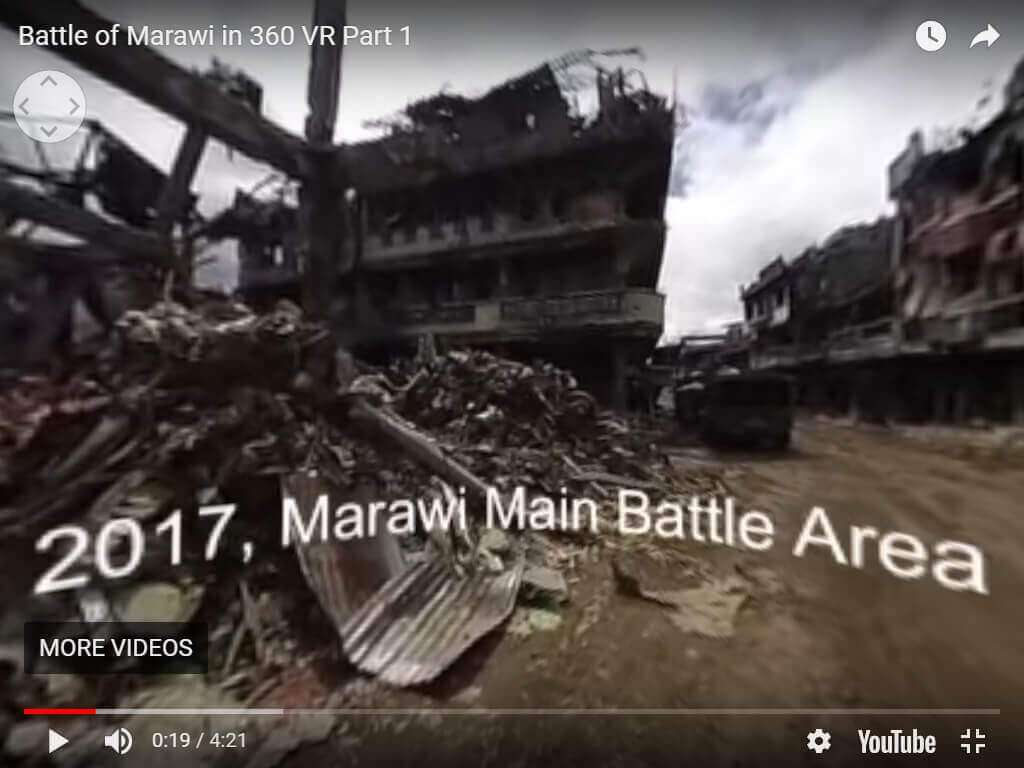 Screen shot of Raffy Tima's report 'Inside Marawi'. The video won a Silver Screen Award in the Craft or Production Techniques 360 Video category