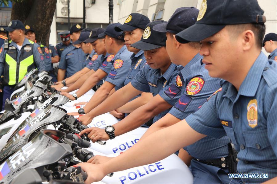 Chenese embassy donates e-motorcycles to Manila police | PHoto: www.news.cn