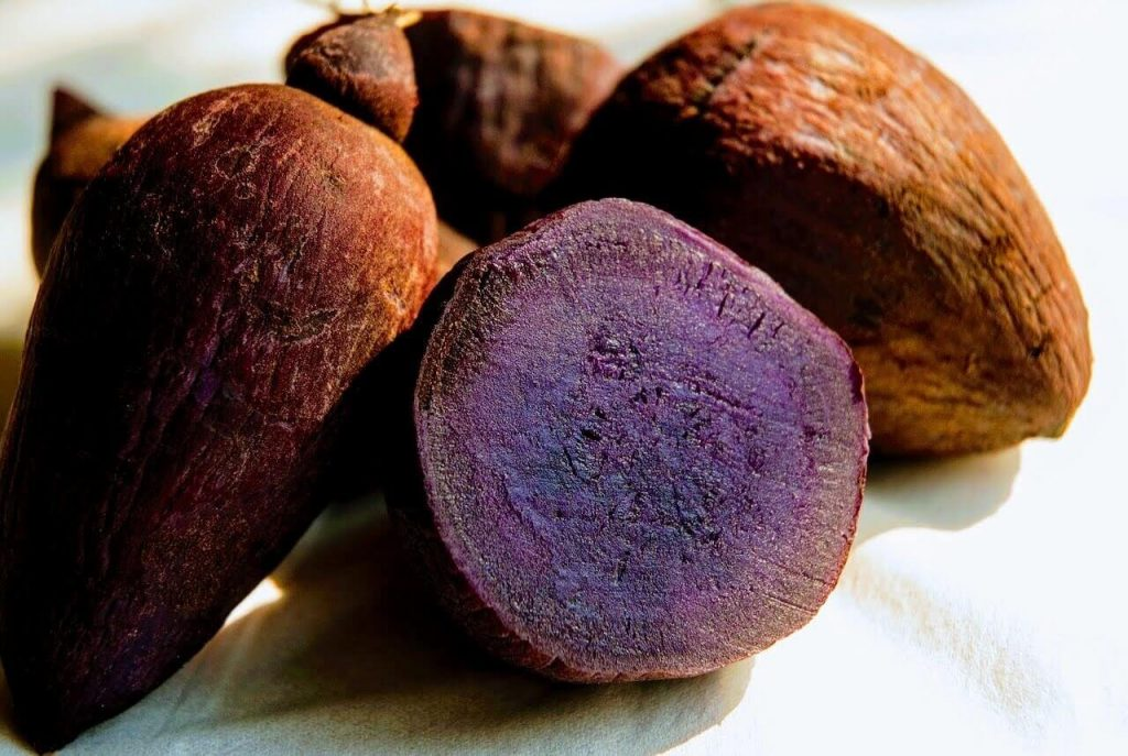 UBE: A kind of bright purple yam used as a flavouring and colouring in sweet dishes.
